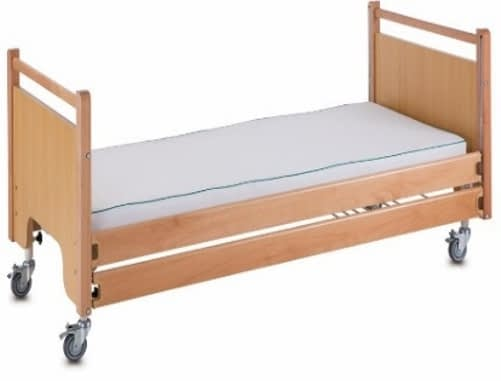 3 Function Manual Care Bed - Wooden Siderails